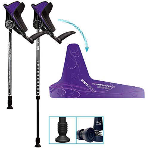 smartCRUTCH Performance Series Forearm Crutch with Premium Spring Loaded Flextip, 15-90 Degree Rotation - 2 Adult Ergonomic Adjustable Walking Aids - Medium, Purple Haze