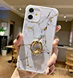 iPhone 12 Case 2020, Anynve Compatible with iPhone 12 Pro Marble Case Cute for Women Girls with 360 Degree Rotating Ring Kickstand, Shockproof Hard Back + Soft TPU Bumper Slim Case 6.1 Inch-White