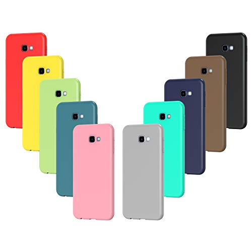 iVoler 10x Custodia Cover per Samsung Galaxy J4+ / J4 Plus 2018, Sottile Morbido TPU Silicone Antiurto Protettiva Case (Nero, Grigio, Blu Scuro, Blu Cielo, Blu, Verde, Rosa, Rosso, Giallo, Marrone)