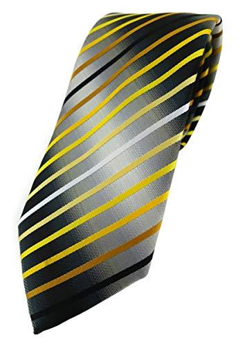 TigerTie Corbata de diseño con rayas estampadas. Amarillo, dorado, marrón, blanco, gris plata, negro Talla única