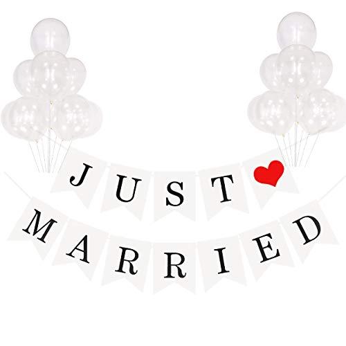 Meowoo Just Married Girlande Frisch Verheiratet Banner weiß mit Seil und 10 Latexballon, Aufhängen Hochzeit Deko Vintage Rustikal Hängend Buchstaben Flagge, für Hochzeit Fest Party und Auto