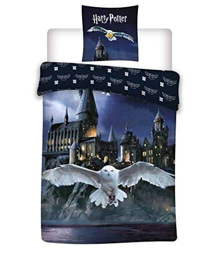 Wende Bettwäsche-Set Harry Potter 135 x 200 cm 80 x 80 cm, 100% Baumwolle, Biber/Flanell, Hogwarts, deutsche Größe Winter-Bettwäsche Aymex