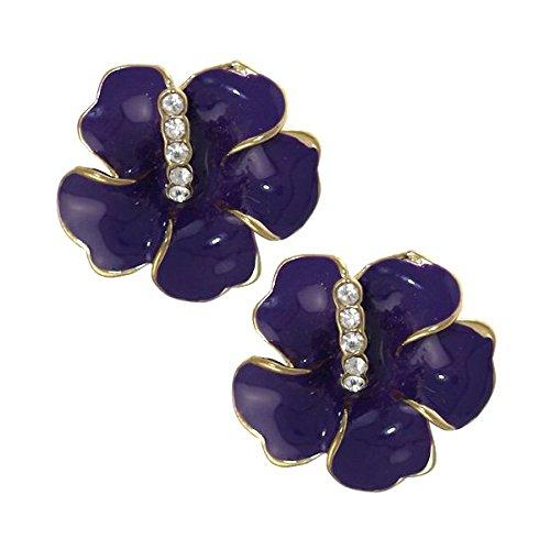 AMANDINE Gold tone Purple Crystal Clip On Earrings
