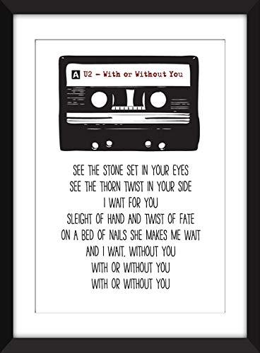U2 With or Without You Lyrics Unframed Print/Ungerahmter Druck