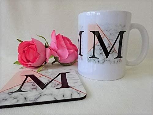 N\A Taza con Inicial de mármol de Oro Rosa Personalizada, Regalo para niñas, Dama de Honor, colega, Hija, Regalo de cumpleaños