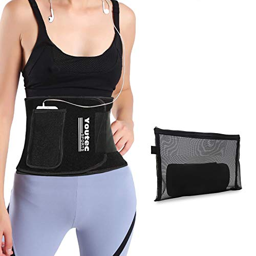 Youtec Waist Trimmer, Neoprene Sweat Waist Trainer Belt, Stomach Wrap, Workout Slimming Band, Velco Adjustable Belly Sweat Trimmer for Women Men with Phone Bag (Upgraded)