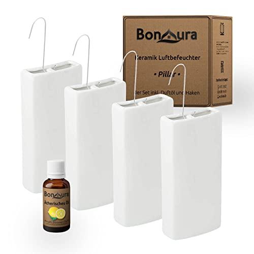 BonAura® PILLAR - Humidificador y calefactor de cerámica, 4 unidades, con gancho, humidificador de agua cuadrado para colgar, incluye aceite cítrico, 4 x 350 ml