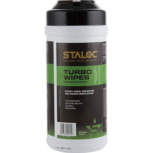 STALOC Turbo Wipes | feuchte Reinigungstücher | Putztücher im Spendereimer | für Anwendungen im Bereich Auto, Haus, Werkstatt - ideal für Heimwerker | 80 Stück