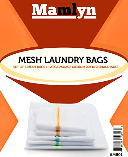 Mamlyn Set of 5 Mesh Laundry Bag for Delicates, Breathable Wash Bag with Colored Zippers, Lingerie Bags for Laundry Underwear Bra Socks Hosiery Blouse Shirts Sweaters Shoes