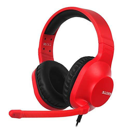 SADES Spirits 3.5 mm Stereo-Gaming-Kopfhörer für Nintendo Switch, PS4, Xbox One, Over-Ear-Headset mit Mikrofon mit Geräuschunterdrückung, weiche Memory-Ohrenschützer für PC, Laptop (rot)