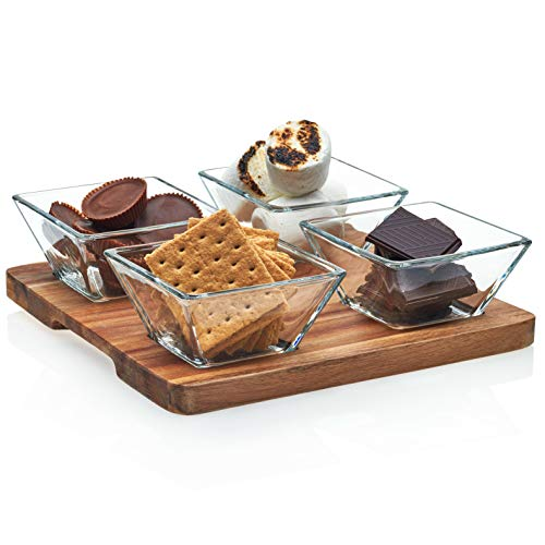 Libbey Acaciawood 4-Piece Cheese Board Serving Set with Wood Serving Board