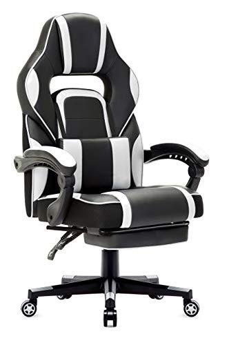 Racing Stuhl, Gaming Stuhl mit Hoher Rückenlehne, Ergonomischer Bürostuhl aus Kunstleder, Chefsessel mit Taillenstütze und ausziehbarer Fußstütze, Weiß