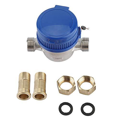 GOTOTOP Wasser-Messgerät, 15 mm, 1,27 cm kaltes Wassermessgerät, Ablesung von Kubikmetern für Garten und Zuhause, mit kostenlosen Armaturen, Blau
