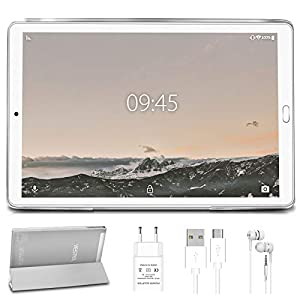 Tablet 10.0 Pulgadas YESTEL Android 10.0 Tablets con 4GB RAM + 64GB ROM/WiFi   Bluetooth   GPS, 8000mAH con Cubierta-Plata