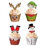ZHOUZHOU 24 unidades de envoltorios de papel para cupcakes, diseño de Papá Noel, elfo, muñeco de nieve, renos, decoración de cumpleaños
