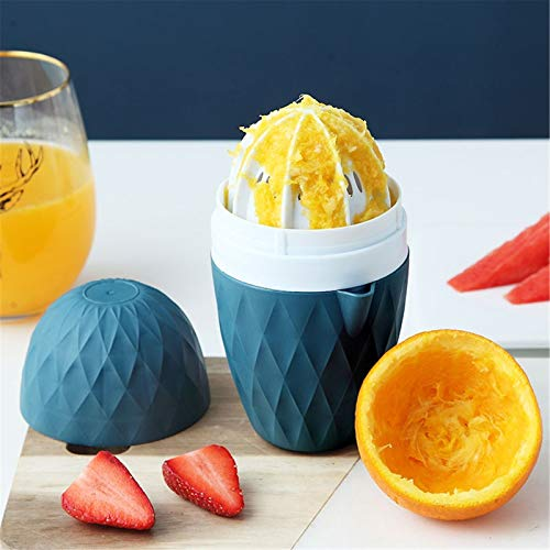 Gpure Exprimidor Naranjas Manual de Plastico, Esprimidores de Zumo Manual Cocina Profesional Portátil 8.5x16cm Fácil de Limpiar Copa Cilíndrica (Azul)