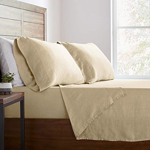 Stone & Beam Belgian Flax Linen Bed Sheet Set, Breathable and Durable, King, Natural