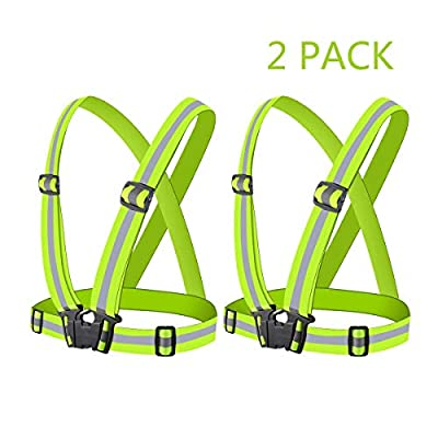 Yufenge Reflective Vest Running Gear High Visibility Reflective Vest Belt Adjustable Safety Vest Outdoor for Night Jogging Motorcycle Cycling Hiking Dog Walking 2 Pack (Green)