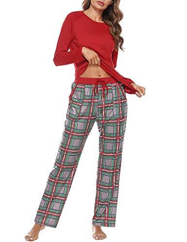 Aibrou Damen Zweiteiliger Schlafanzug Set, Baumwolle Langarm Nachtwäsche Raglanärmel Sleepwear und Plaid Pyjamahose Hausanzug Freizeitanzug Stil 1:Rot L
