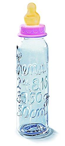 Babyflasche personalisiert mit allen Daten zur Geburt des Babys: Name, Geburtstag, Gewicht, Grösse. Glasklare Beschriftung. Mit rosa Verschluss für Mädchen. Auch erhältlich mit blauem Verschluss für Jungen.