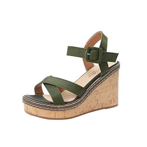 Schnallesandalen/Dorical Damen Klassische Sommerschuhe Peep Toe High Heels Sandalette 9.5cm Absatz Schuhe/Keilabsatz Pumps rutschfest Freizeitsandaletten für Mama(Grün,37 EU)