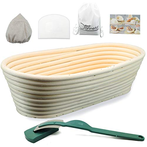 11 Inch Oval Bread Proofing Basket .Banneton proofing basket .Bread Basket Bread lame Dough Scraper Proofing Cloth Liner for Sourdough Bread Baking Tools for Home Baker