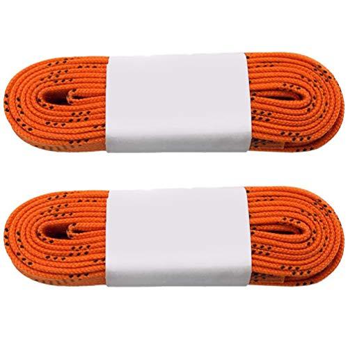 CLISPEED Gewachste Skate-Hockey-Schnürsenkel Breite Schnürsenkel Professionelle Anti-Frost-Schuhschnüre für Hockey-Skates-Stiefel (Orange 96 Zoll)