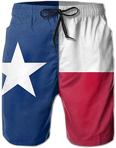 Flag of Texas-TX Mens Funny Swim Trunks Quick Dry Beach Shorts Swimsuit Casual Style Running Shorts with Mesh Lining and Pockets