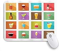 VAMIX マウスパッド 個性的 おしゃれ 柔軟 かわいい ゴム製裏面 ゲーミングマウスパッド PC ノートパソコン オフィス用 デスクマット 滑り止め 耐久性が良い おもしろいパターン (アルコール飲料のモダンなグラフィック構成スクエアタイルプリントのハードリカー)