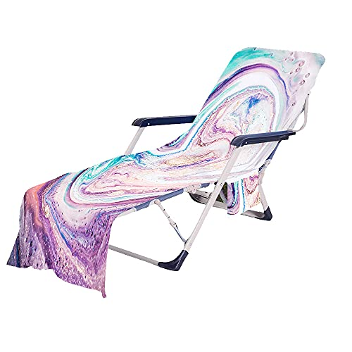 Fansu Toalla de Microfibra para Tumbona de Playa, Cubierta de la Silla de la Calesa con Bolsillos Múltiples/Ligero/Ultra Absorbente, Toalla de Viaje, Toalla de Baño (75 x210 cm,púrpura)