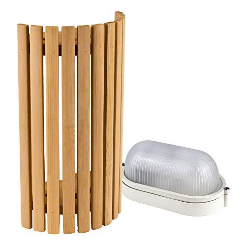 Saunainter Sauna Beleuchtung Set Lampenschirm Sawo 914-VD aus Zeder mit E27 IP54 Saunalampe und 5m Silikonkabel SiHF