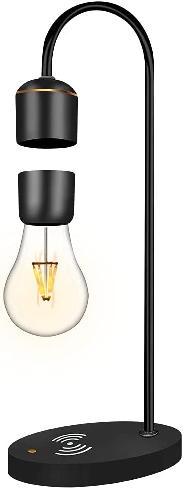Floatidea Magnetic Levitating Light Bulb Wooden Black Floating Levitation Lamp Spin Hover Table LED Night Light Bedroom Decor Desk Toys Office Gift Home Decoration with Phone Wireless Charger