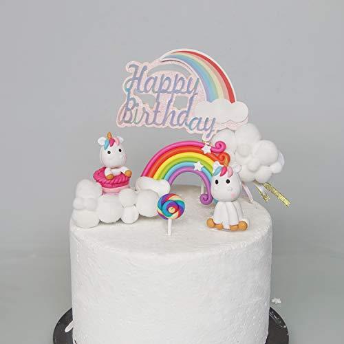 Material de modelado no comestible, ligero y muy duradero. Ideal para colocar en tu tarta como adornos para tartas y mantener mucho tiempo después de que tu celebración haya terminado. El kit incluye un unicornio sentado y de pie, un arco iris, un lo...