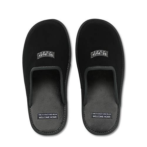 Zapatillas de Estar por casa Hombre/Mujer. Slippers para Verano e Invierno/Pantuflas cómodas, Resistentes, Transpirables y de Interior Suave. Suela de Goma Antideslizante (41 EU, Negro)