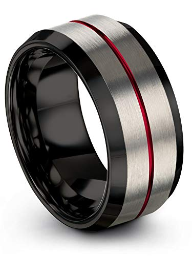 Chroma Color Collection Tungsten Carbide Wedding Band Ring 10mm for Men Women Black Interior with Red Center Line Grey Exterior Bevel Edge Brushed Polished Comfort Fit Anniversary Size 11.5