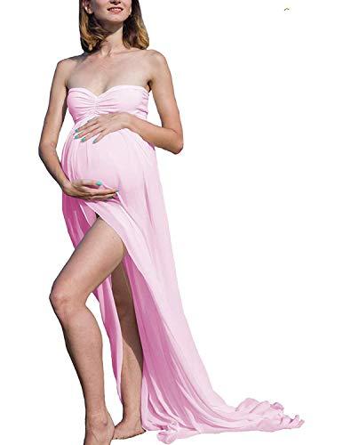 BUOYDM Donna Vestiti da maternità in Pizzo Abito Lungo Senza Spalline Abito Estivo Abito Spiaggia Abiti Eleganti (Taglia Unica, B-Rosa)