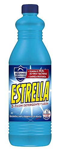 Estrella 2 en 1 Lejía con Detergente Azul, Desinfección y limpieza sin huella para el hogar - 1,35 litros