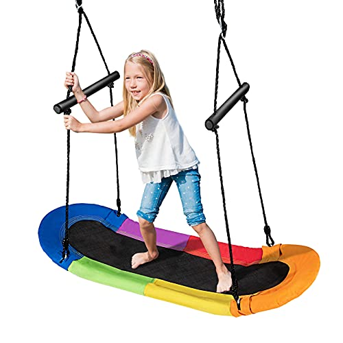 GOPLUS Höheverstellbare Schaukel bis 150 kg belastbar, Gartenschaukel für Erwachsene oder Kinder, extra breiter Sitz für Mehrkind, ahmen aus Stahl, Kinderschaukel für Innen und Außenbereich (Bunt)