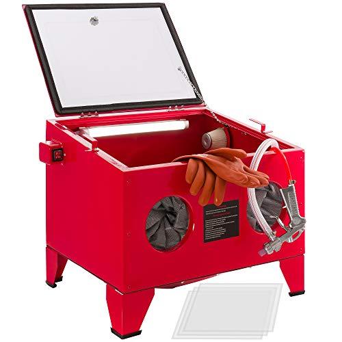 AREBOS Cabina de chorro de arena | Gabinete de arenado | Máquina de soplado de arena | Pistolas de chorro de arena | Rojo | 90L | Acero | 125 PSI