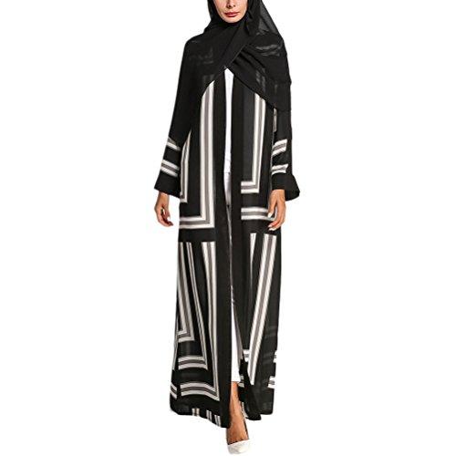 Zhhlinyuan Beiläufig Gedruckt Muslime Langer Mantel Strickjacke Damen Abaya Tunika Islamisch Roben Kleider Loose Dresses