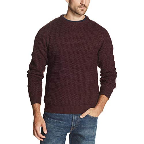 Weatherproof Mens Sweater Burgundy Textured Crewneck
