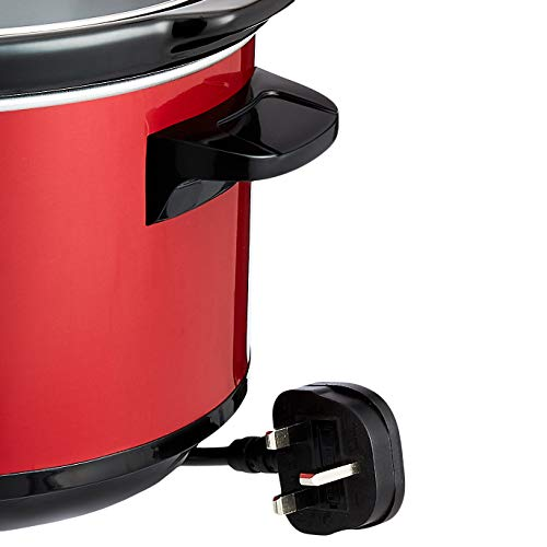 Amazon Basics Olla de cocción lenta, con 3 niveles de calor y función de mantenimiento del calor, 235-280 W, 6,5 l