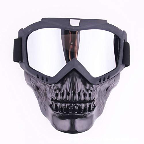 LAIABOR Motorrad Helme Goggle Maske Totenkopf Vollgesichts Harley Stil Helm Nebelfest Winddicht Reiten Sonnenbrille, Silber