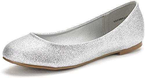 DREAM PAIRS Women's Sole-Simple Silver Glitter Ballerina Walking Flats Shoes - 12 M US