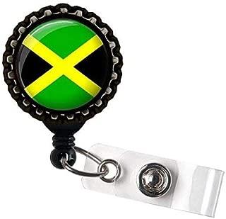 Jamaican Flag Retractable Name Badge holder Reels Identification Black Bottle Cap