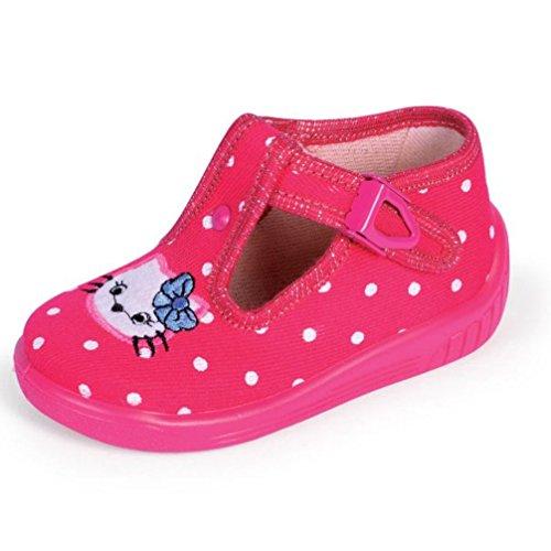 Babyschuhe Hausschuhe Laufschuhe Ballerina mit Clip Verschluss Katze pink polkadot Gr. 25