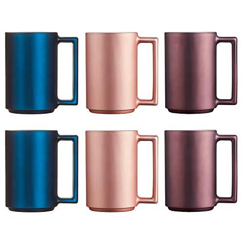 Luminarc Ameno Set 6 tazas desayuno mugs café de vidrio para microondas 32cl, 3 colores, Verde