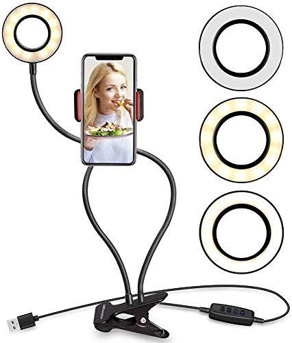 Luz de anillo LED, luces de llenado de video regulable LED anillo de luz Soporte para transmisión en vivo, luz anillo selfie con soporte cámara web para cámara Smartphone YouTube Disparo de video