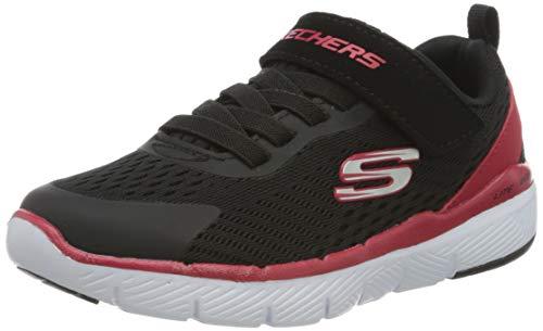 Skechers Jungen Flex Advantage 3.0 Sneaker, Schwarz Schwarz Mesh Rot Silber Besatz BKRD, 36 EU