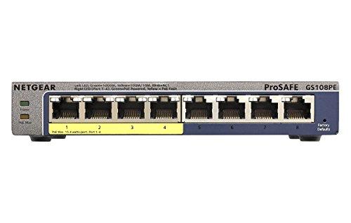 NETGEAR (GS108PE) Switch Ethernet PoE 8 Ports RJ45 Gigabit (10/100/1000), Smart Manageable PoE, 4 Ports PoE 53 W, Bureau, Silencieux, Protection ProSAFE Garantie à Vie Parfait pour les PME et TPE